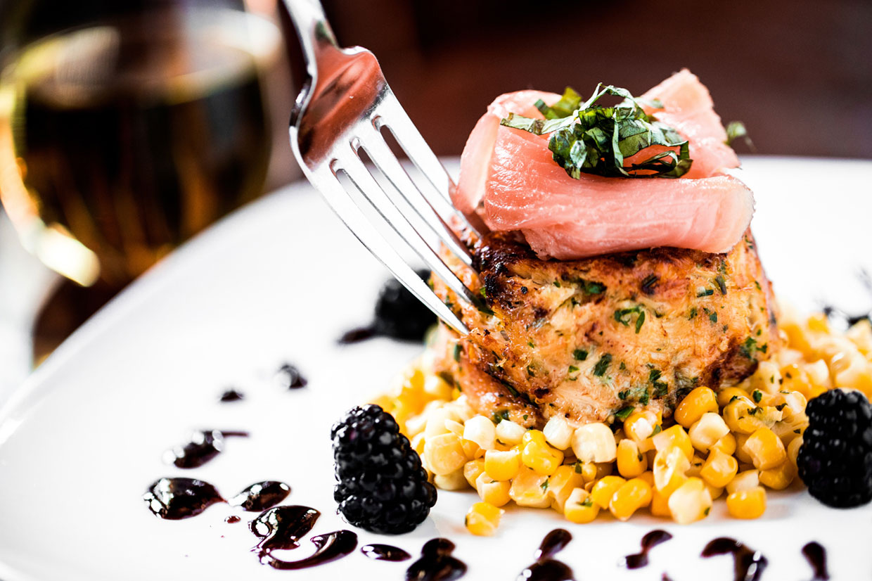 Crab cake with salmon and corn